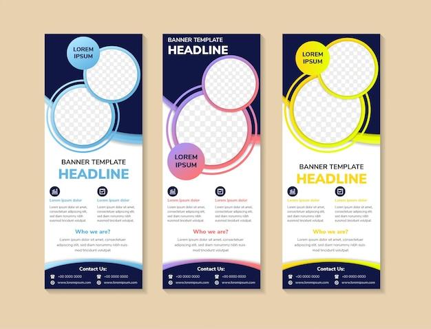 Cerchio colorato business roll up banner modello di progettazione banner verticali geometrici astratti