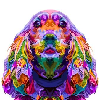Cocker spaniel colorato isolato su stile pop art. illustrazione.