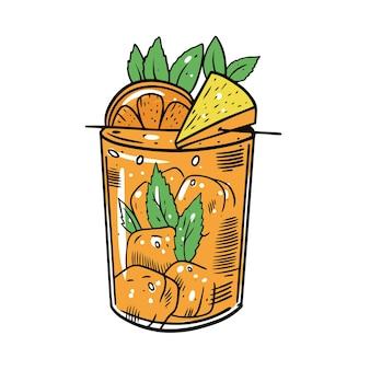 Cocktail colorato con arancia, menta, cubetto di ghiaccio e ananas. schizzo di tiraggio della mano. design per bar alcolici.