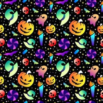 Collezione colorata modello senza cuciture di halloween e design sfumato