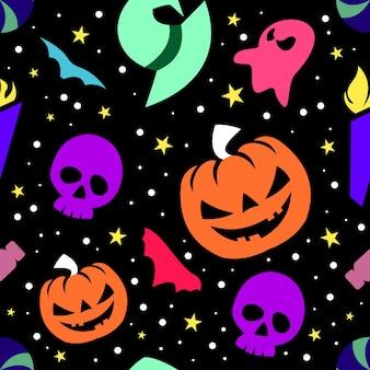 Collezione colorata reticolo senza giunte di halloween