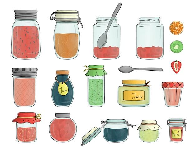 Colorata collezione di cibi conservati in barattoli con frutta e bacche