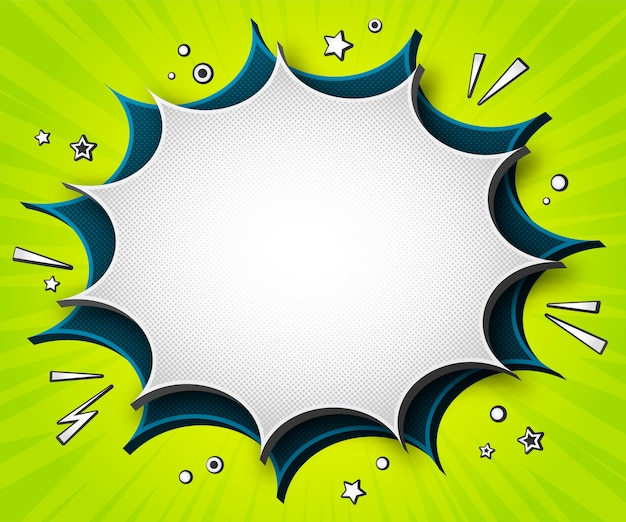 Banner di fumetti colorati. fumetti del fumetto su fondo verde
