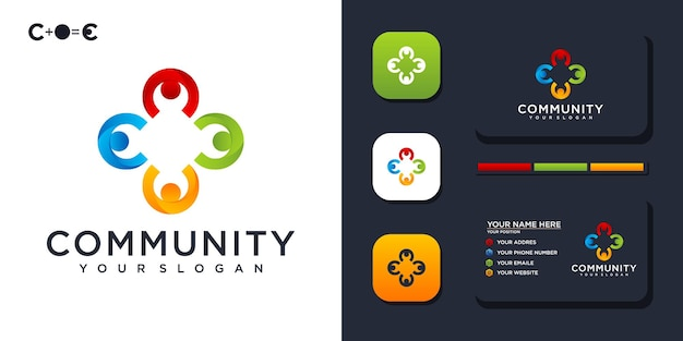 Modello di logo colorato della comunità e riferimento per biglietti da visita. vettore premium