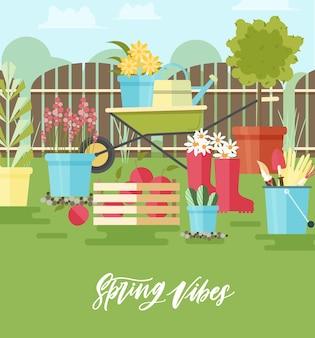 Composizione colorata con strumenti e attrezzature per giardinaggio, agricoltura e lavori agricoli