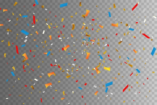 Coriandoli colorati e palline isolate. vettore di sfondo festivo. buon compleanno. banner di invito alla festa di compleanno