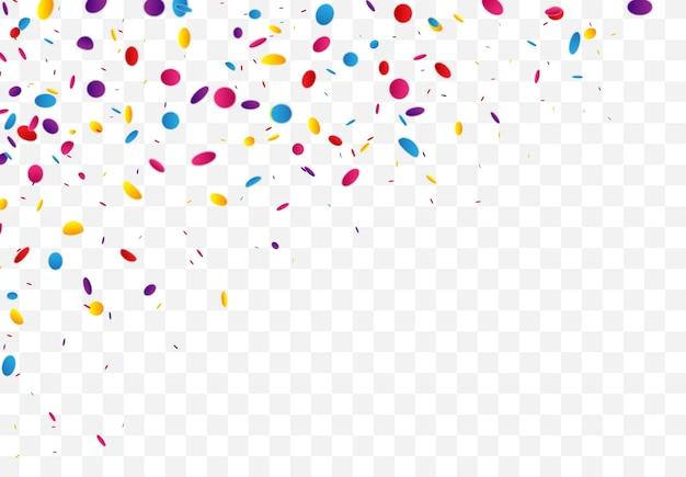 Nastro colorato di coriandoli e celebrazioni isolato
