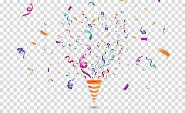 Coriandoli colorati. allegro festivo. cono con coriandoli.