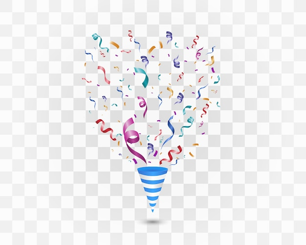 Coriandoli colorati su sfondo bianco. sfondo allegro festivo. cono con coriandoli.