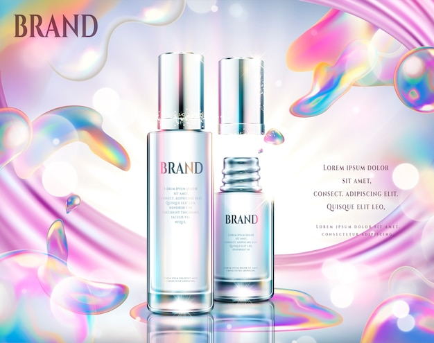 Annunci cosmetici colorati, bottiglia di vetro con effetto bolle di sapone arcobaleno nell'illustrazione