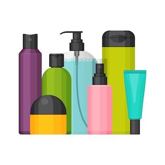 Set di flaconi cosmetici colorati per bellezza e detergente, cura della pelle e del corpo, articoli da toeletta.