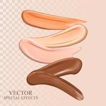 Elementi di sbavatura cosmetici colorati per usi, illustrazione