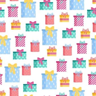 Modello senza cuciture di elementi natalizi carini colorati happy new year e merry xmas background