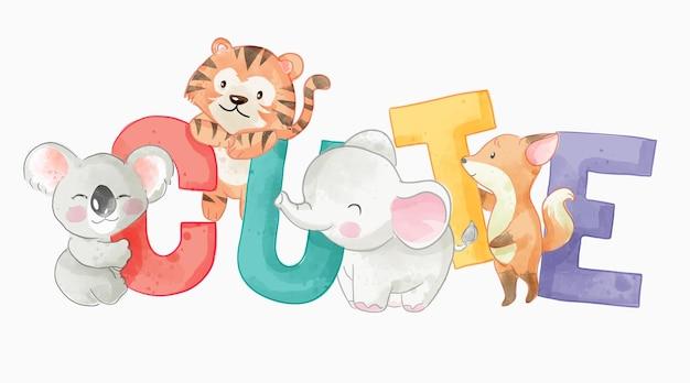 Lettera carina colorata con illustrazione di animali selvatici dei cartoni animati