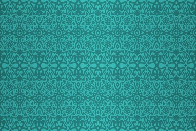 Sfondo colorato ciano con motivo floreale astratto senza soluzione di continuità