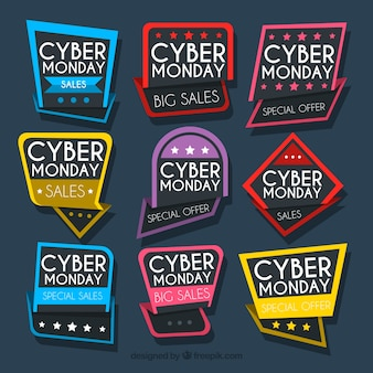 Colorful cyber monday badges