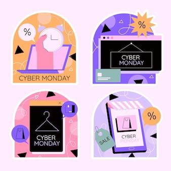 Collezione di adesivi colorati cyber lunedì