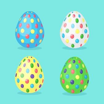 Uova punteggiate di pasqua decorate colorate. vacanze di primavera. buona pasqua