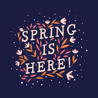 Design tipografico manoscritto decorativo colorato con fiori e decorazioni. disegno dell'illustrazione dell'iscrizione della mano della primavera.