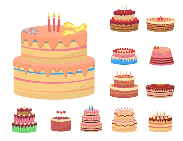 Deliziosi dessert colorati, torte di compleanno con candele celebrative e fette di cioccolato