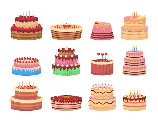 Deliziosi dessert colorati, torte di compleanno con candele di celebrazione. set piatto di torta di compleanno.