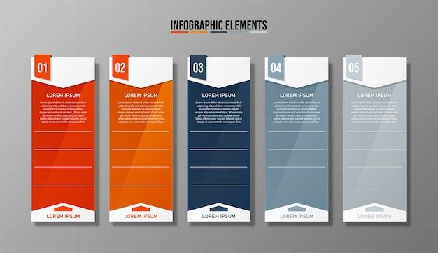 Design colorato pulito numero 5 opzioni banner modello grafico o layout del sito web facile da usare.