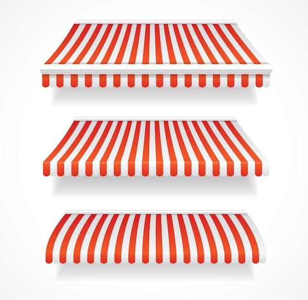 Tendalini colorati dettagliati per negozi e ristoranti impostati in rosso