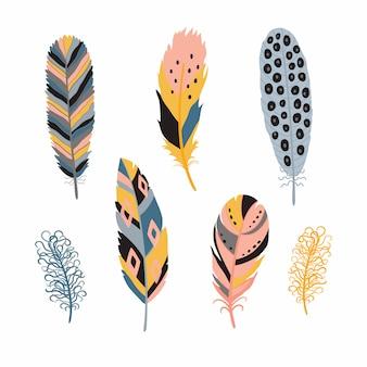 Set di piume di uccelli dettagliate colorate