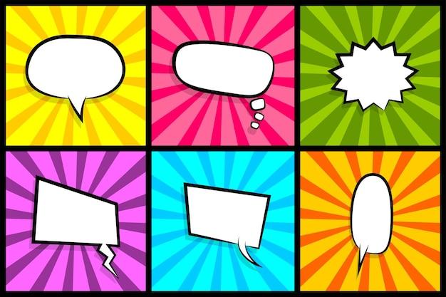 Nuvola vuota di dialogo colorato per testo comico nuvole di fumetti con nuvolette di fumetti