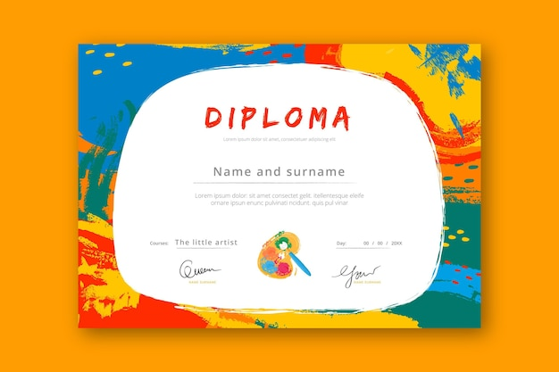 Modello di diploma colorato per bambini Vettore Premium