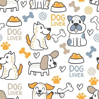 Reticolo variopinto di cani e parole di doodle