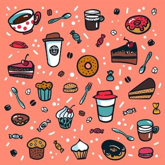 Set di cartoni animati in stile doodle colorato di oggetti a tema caffè