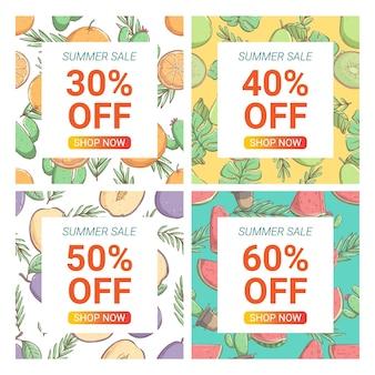 Banner di vendita estiva di doodle colorato e raccolta di modelli web di annunci