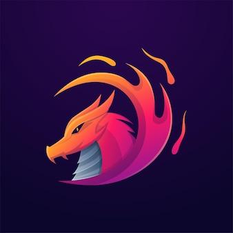 Modello di logo colorato drago fuoco