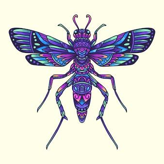 Illustrazione variopinta della mandala dello scarabeo della libellula