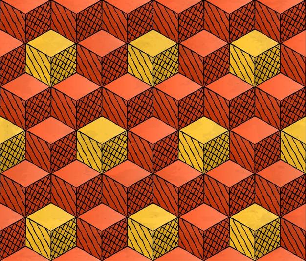 Modello di cubi in stile disegno colorato