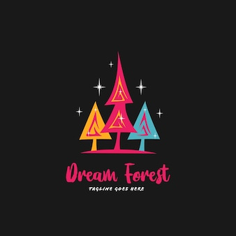 Icona del logo della foresta di pini da sogno colorato
