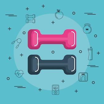 Manubri colorati con oggetti disegnati a mano legati all'esercizio su sfondo blu. illust di vettore