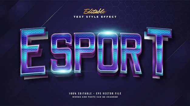 Stile di testo colorato e-sport con effetto curvo