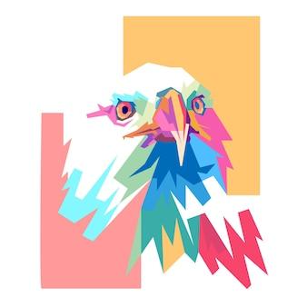 Disegno di ritratto pop art colorato testa d'aquila