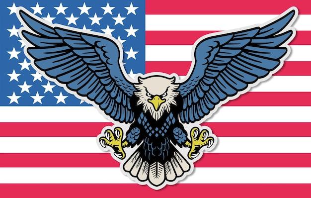 Colorful eagle mascot diffondere il vettore di ali