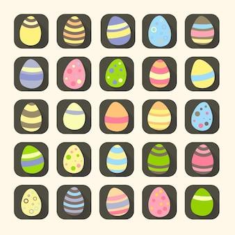 Simboli colorati delle icone delle uova di pasqua. illustrazione vettoriale