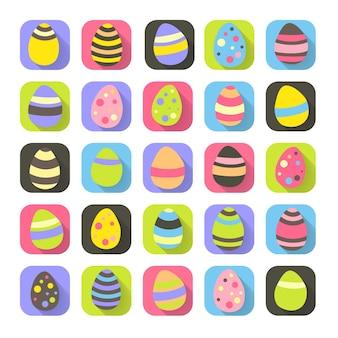 I simboli variopinti di pasqua hanno messo le icone delle uova. illustrazione vettoriale