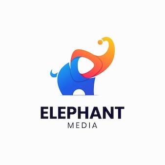 Modello di logo riproduzione multimediale elefante colorato