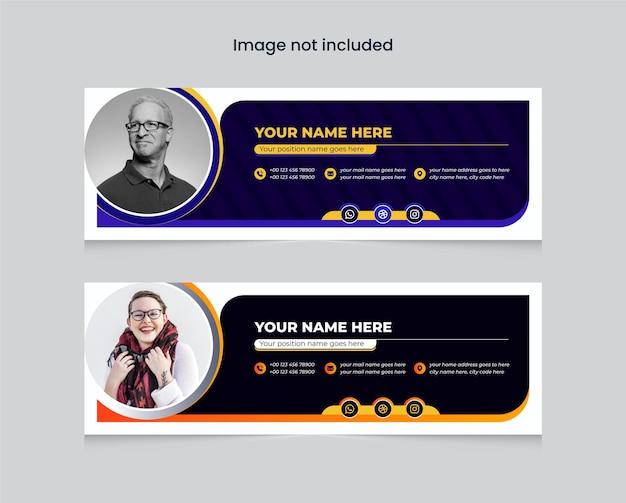 Modello di firma e-mail colorato o piè di pagina dell'e-mail e modello di progettazione della copertina dei social media personali