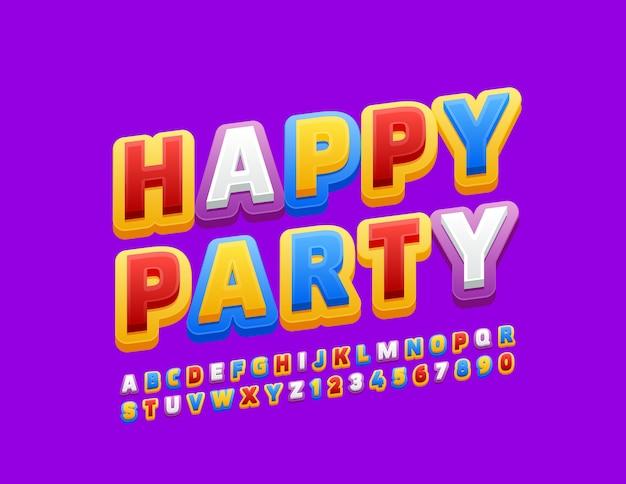 Emblema colorato happy party. carattere luminoso per bambini. lettere e numeri dell'alfabeto creativo