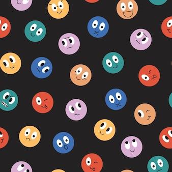 Modello senza cuciture di emozioni colorate volti di sorriso carino cerchio su sfondo nero