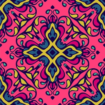 Damasco astratto festivo etnico colorato flourish vector pattern