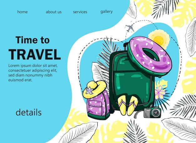 Design esotico colorato della pagina di destinazione del viaggio con valigia, zaino, aereo per il popolare blog di viaggio, pagina di destinazione o sito web di viaggi