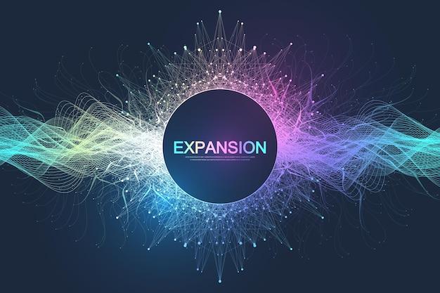 Sfondo colorato esplosione con linea e punti collegati, flusso d'onda. visualizzazione espansione della vita. esplosione di sfondo grafico astratto, burst di movimento. espansione della vita illustrazione vettoriale.